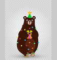 cartoon bear in funny hat and garland holding gift vector image vector image