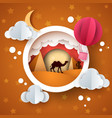 cartoon desert landscape cloud air balloon star vector image vector image