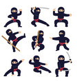 cartoon funny warriors ninja or samurai vector image vector image