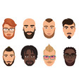 cartoon hipsters bearded men guys avatars with vector image vector image