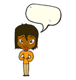 cartoon satisfied woman with speech bubble vector image vector image