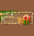 christmas card gift box and christmas tree branch vector image