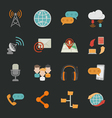 Communication icons with black background eps10 vector image vector image