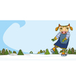 Cow Skater Winter vector image vector image