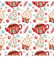 cute cartoon christmas seamless pattern vector image