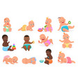 cute little baby boy and girl in different vector image vector image