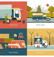 Delivery Trucks 2x2 Design Concept vector image vector image