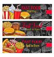 fast food restaurant menu chalkboard banner set vector image vector image