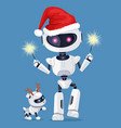 festive robot in red santa s hat with cute puppy vector image
