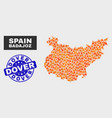 fire mosaic badajoz province map and grunge dover vector image vector image