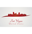 Fort Wayne skyline in red vector image vector image