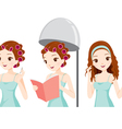 Girl With Curler On Head Relaxing In Salon vector image