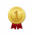 golden medal 1st place prize icon with red vector image vector image