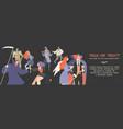 halloween banner with cartoon people vector image