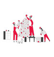 happy family decorate christmas tree father put vector image
