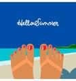 hello summer self shoot female feet tanned vector image vector image