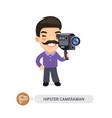 hipster cameraman flat cartoon character vector image