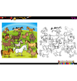 horse characters coloring book vector image vector image