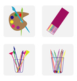 icon set with brush easel pencil vector image vector image