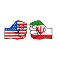 iran and usa political conflict fists with flags vector image