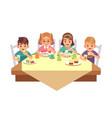 kids eat together children eating dinner cafe vector image vector image