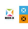 letter x logo square shape symbol digital square vector image