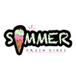 lettering composition of summer with ice cream vector image vector image