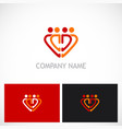 love heart people group logo vector image vector image