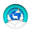 paper winter deer fir moon cloud vector image