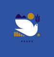 peace day greeting card with flying dove and hope vector image vector image
