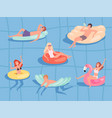 people floating pool summer relax at sea boys and vector image vector image
