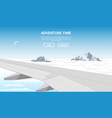 plane wing above clouds vector image