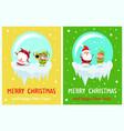 postcard merry christmas happy new year santa elf vector image vector image