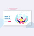 pregnant woman sitting in lotus pose doing yoga vector image vector image