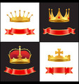 royal gold crown with jewel and red ribbons decor vector image