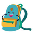schoolbag character flat icon open knapsack vector image