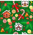 Seamless pattern of Christmas Candy Cane bell vector image