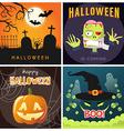 set happy halloween cartoon party posters or vector image