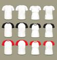 set isolated raglan t-shirts and shirts vector image