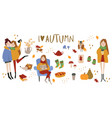 set of cute autumn animals plants food and vector image vector image