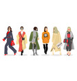 set of women dressed in stylish trendy clothes vector image