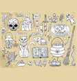 set scary halloween traditional symbols and obj vector image