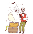 skeleton with party poppers and a ghost vector image
