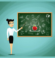 teacher stand next to the blackboard vector image