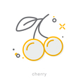 Thin line icons Cherry vector image