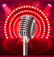 the microphone on the red scene vector image