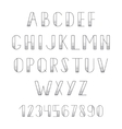 Black alphabet letters and numbers set ABC for vector image