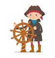 little boy dressed as sailor pirate captain vector image