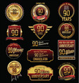 anniversary golden labels and badges 90 years vector image vector image