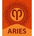 Aries Ram Zodiac icon with mandala print vector image